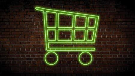 Super market cart neon sign