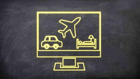 Travel neon sign symbols