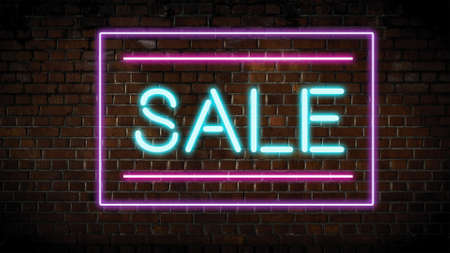 Sale neon sign on wall
