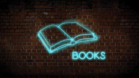 Neon sign for books Zdjęcie Seryjne