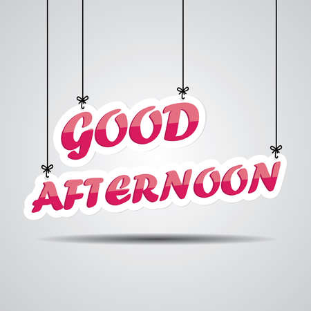 midday: Pink text good afternoon on the hanging isolate on white background.