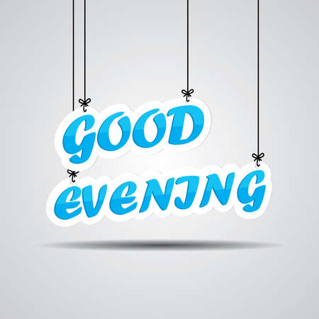 good evening: Blue text good evening on the hanging isolate on white background. Stock Photo