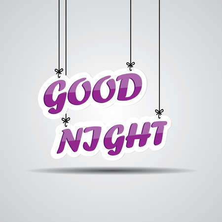 Violet text good night on the hanging isolate on white background. Stock Photo
