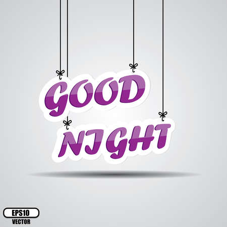 Violet text good night on the hanging isolate on white background - Vector.