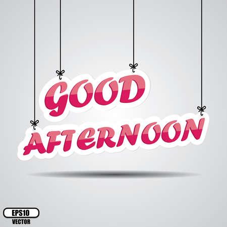 ピンク テキスト良い午後 - 白い背景の上の掛かる分離のベクトルします。