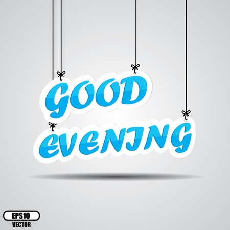 bonsoir: Le texte en bleu bonne soir�e sur la pendaison isoler sur fond blanc - vecteur. Illustration