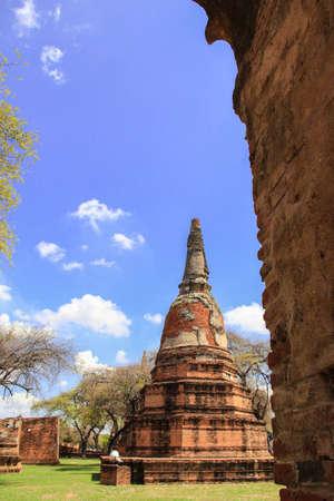 stu: Beautiful  Stu pa behind the wall and nice blue sky background AyutthayaThailand