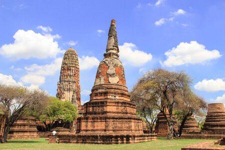 stu: Beautiful ancient Stu pa and nice blue sky background AyutthayaThailand Stock Photo