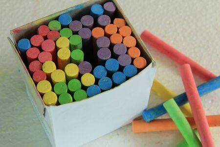 white chalk: Colorful chalk in a box