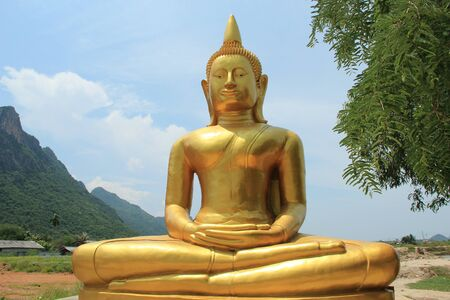 thailand art: Buddha Image and mountain view ,Thailand