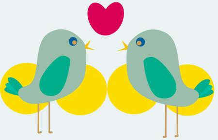 birds lovely Illusztráció