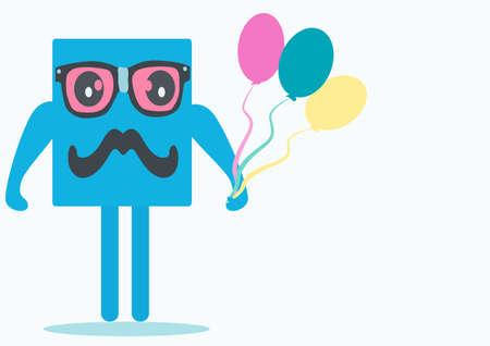 square doll with glasses and balloons Illusztráció