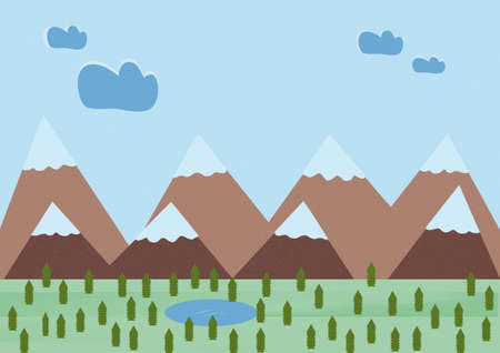illustration of small pines and mountains with a lake 일러스트