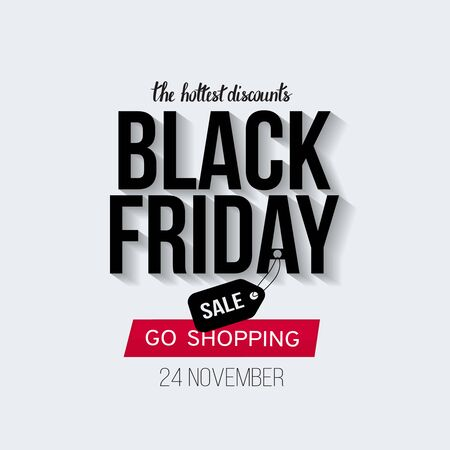 Black Friday Sale banner template for web, print design production. Black and red text on contrast white background. Vector illustration Illustration
