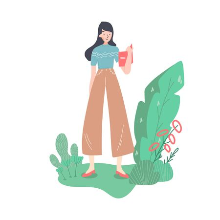 Happy businesswoman in full height. Se is holding the office desk. Interwiewer, worker, designer or anybody. Old fashioned clothes and shoes. Isolated cartoon flat vector illustration. Иллюстрация