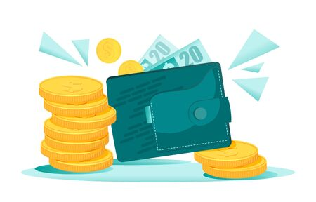 Bundles of money falling to the wallet with dollars. Golden coins are enlarged and symbolize wealthiness and rick. Isolated flat vector illustration for banner, banking or other design production.