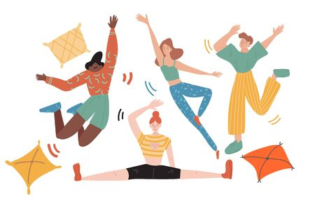 Group of friends celebrates holiday by making an overnight party with pillows. They are jumping, dancing and doing yoga with a big joy. Flat colored vector illustration on white background