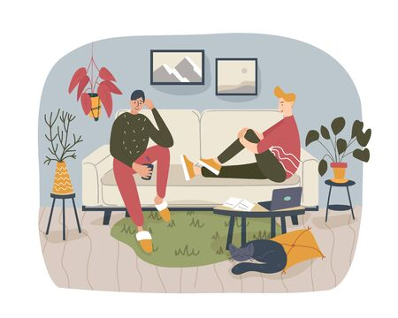 Two friends, students or brothers sitting on the comfortable sofa at home and talking to each other, sharing thoughts and ideas in nice and cozy atmosphere. Vector colored cartoon flat illustration.