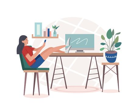 A female student or freelance worker sitting at home scrolling the phone putting her feet on the table with a computer. Typing a message or surfing the net on the cellphone. Vector illustration