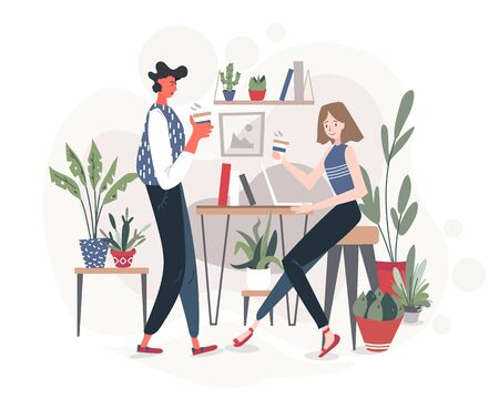 Friends, students, workers or colleagues sitting in a comfortable cafe or office with plants on the background, drinking coffee and having a nice conversation, sharing ideas. Vector flat illustration