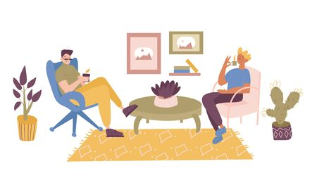 Two friends, students, workers or colleagues sitting in the comfortable chair in office or at home, resting after a work or taking a break, reading and drinking coffee. Vector flat illustration. Ilustração