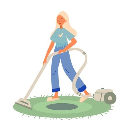 Young little blonde girl wants to help her mother in housekeeping, so she decided to clean the living room with vacuum cleaner. White background. Vector cartoon colored flat illustration Иллюстрация