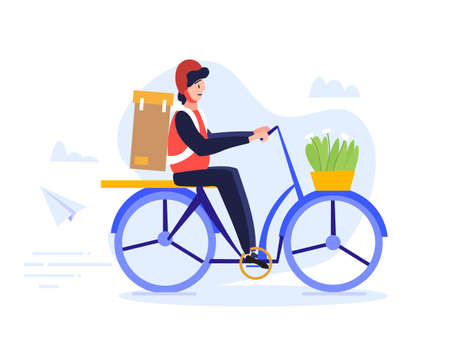 A male courier in helmet rides a bike to quickly and efficiently deliver the packages to the client who ordered some goods. Delivery concept. Completed flat cartoon colored vector illustration.