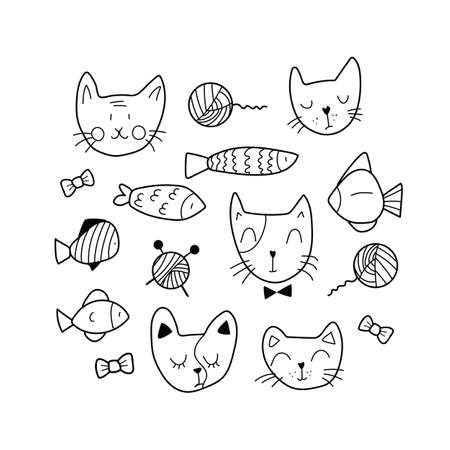 The cute set of animal faces includes 15 elements, like decorative knitting, fish, and cats' happy and sad faces for stickers.