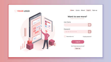 Vector illustration of showing how a user tries to fulfill a login form. Interactive design of login form template. Landing page mockup. Neutral themes and colors. Vektorové ilustrace