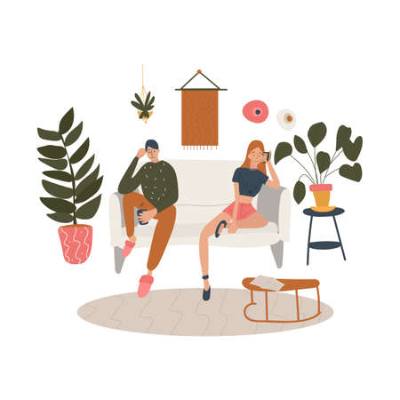 Sitting couple in a living room decorated with plants and home furniture. Business or family relationship. The regular or unhappy situation in friendship. Vector cartoon colored flat illustration. Vecteurs