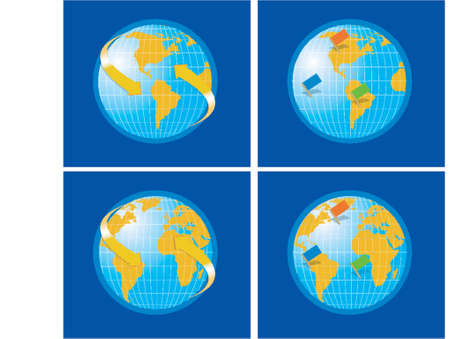 Vector Globe World Map with flags and arrows