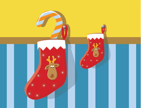 Christmas ,festive stocking with reindeer