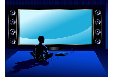 Boy coumputer jouer console de jeu en face du téléviseur