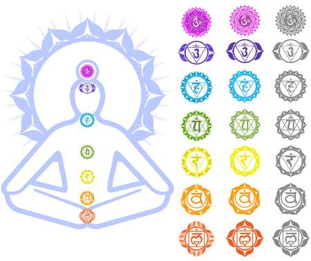 Seven Chakras  and spirituality symbols Illustration