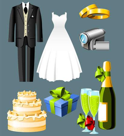 Wedding icons - set of seven items  Иллюстрация