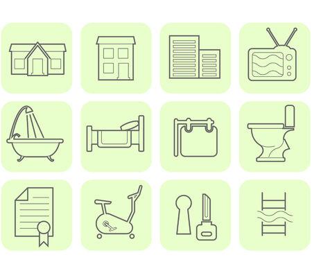 Immobilien und Annehmlichkeiten Icon Set  Vektorgrafik