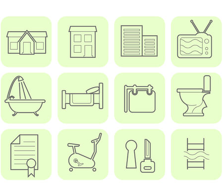 Real Estate and amenities icon set
