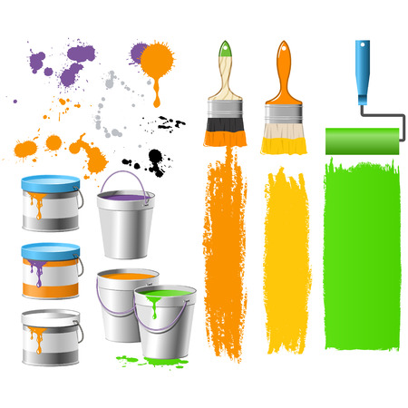 Renewal things - brushes, buckets and paint Stock Vector - 3814213