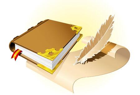 Oude magische boek Vector Illustratie