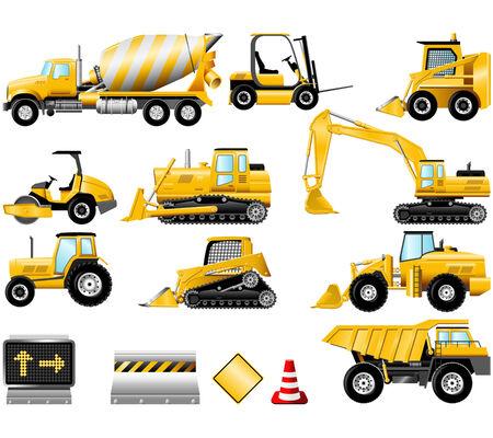 Icônes de machines de construction isolés sur le blanc