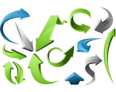 異なる形状の三次元矢印標識セット