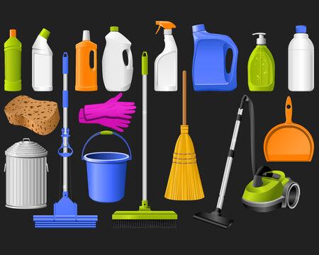 Outils domestiques de nettoyage sur le noir.