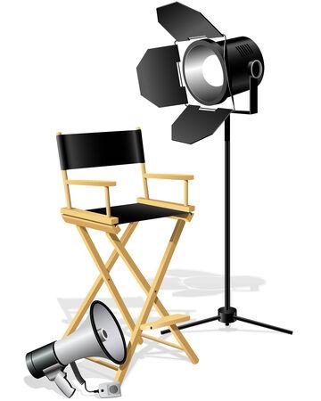 Director's workplace Chair, Megaphone and searchlight Векторная Иллюстрация
