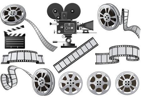 Film industrie ken merken - film, film camera en film lei Vector Illustratie