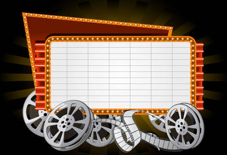 Neon Electronic movie Marquee with film reel
