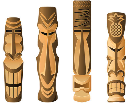 Four different wooden Hawaii Tikis on the white