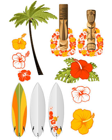 Hawaiian rest attributes, Hibiscus, Surfboards and tikis Vector