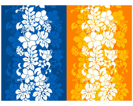 hibisco: Hawaiian fondo transparente floral con Hibiscus Vectores