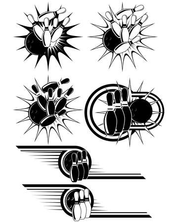 strike: Black And White Bowling clipart styled as emblems