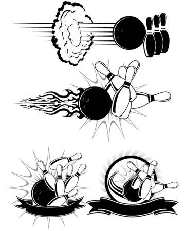 Zwart-wit Bowling illustraties die zijn opgemaakt als emblemen Vector Illustratie